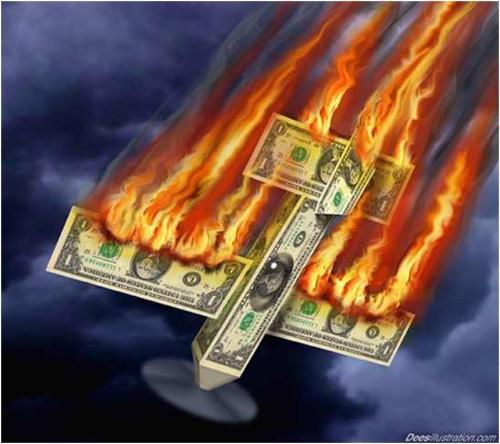 avion dolar en llamas