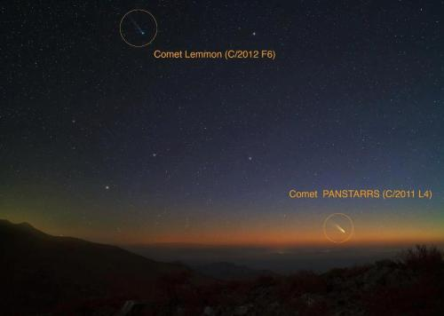 Cometa Lemmon cometa PanStarrs