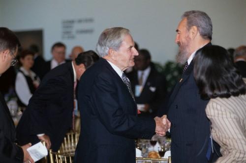 David Rockefeller and Fidel Castro Shaking Hands