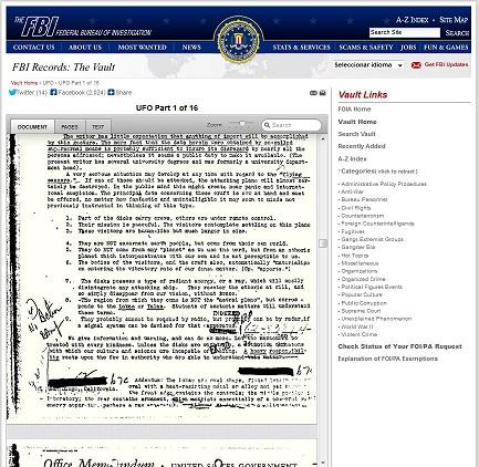 vault fbi ufo files npe