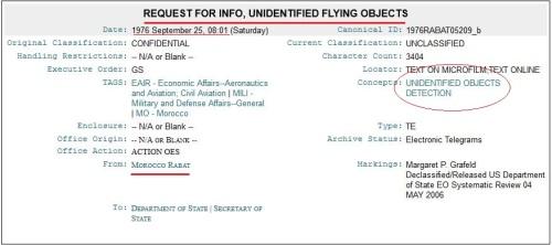 wikileaks NPE UFO Cable Marruecos