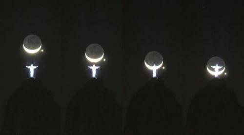conjuncion cristo redentor luna creciente y venus