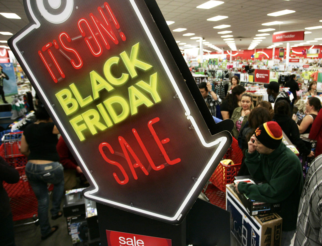 People shop at Target on Thanksgiving Day in Burbank, California