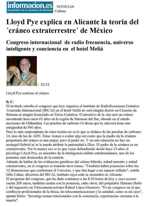 030710 - LOYD PYE EXPLICA EN ALICANTE LA TEORIA DEL CRANEO EXTRATERRESTRE DE MEXICO - INFORMACION (ALICANTE)-770655