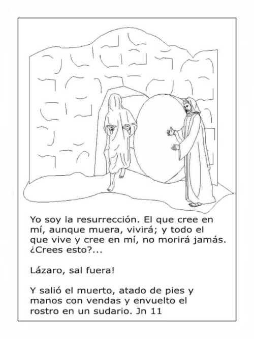 Imagen de Jesús y lazaro para colorear