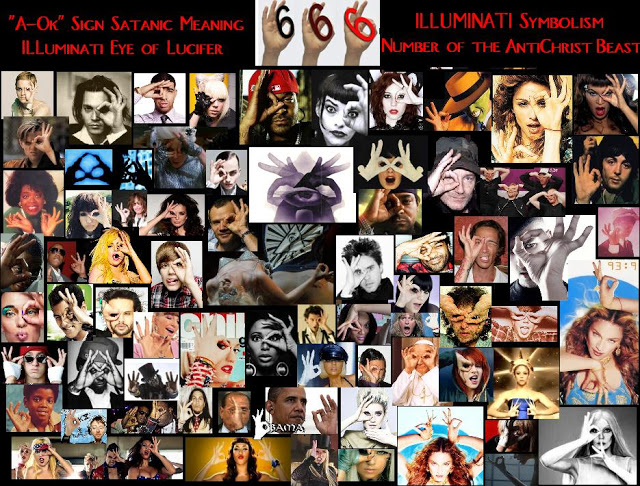 Illuminati 666 A-ok Sign all seeing eye symbol, Satanic Number of the Antichrist Beast