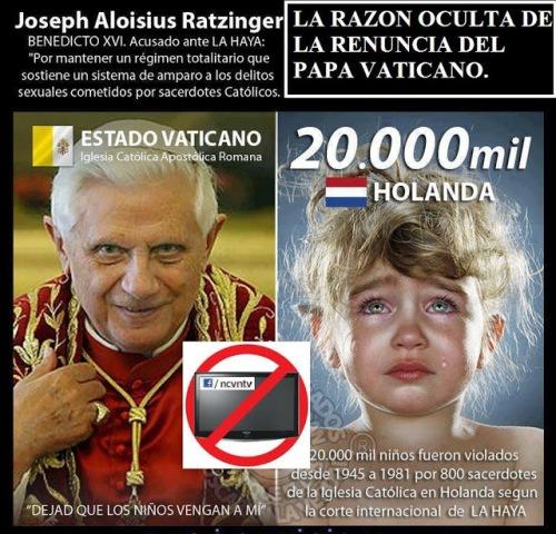 0La renuncia del papa y las violaciones de ninos