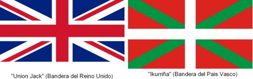 Comparativa de banderas de Reino Unido y el País Vasco