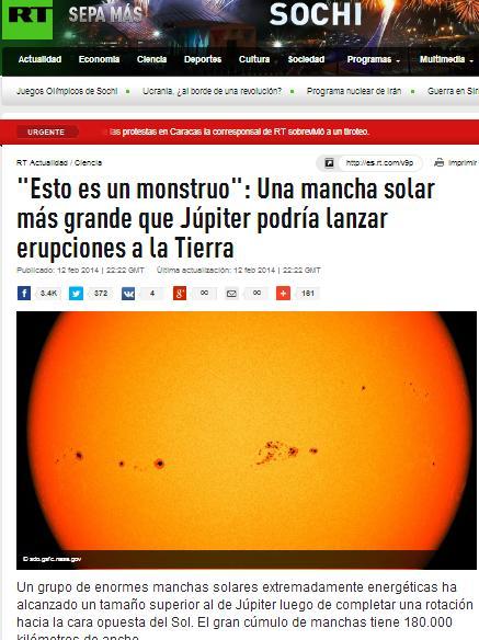mancha solar mas grande que jupiter