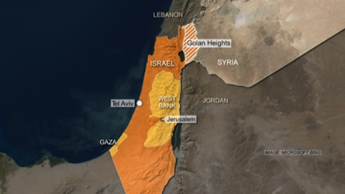 Mapa - Siria, Israel y las alturas del Golán