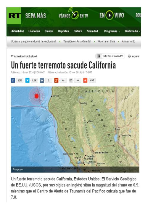 rusia today terremoto california