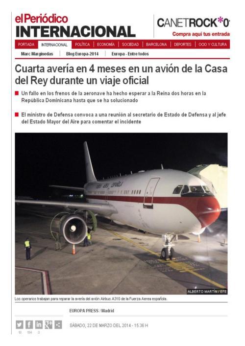 cuarta averia avion oficial