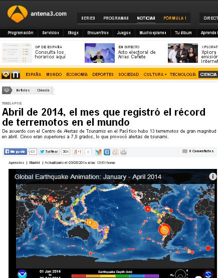 abril 2014 record terremotos