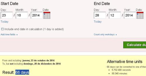 23 de octubre 66 dias para 28 diciembre o fin borbones españa