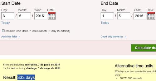 333 días para 1 mayo 2016