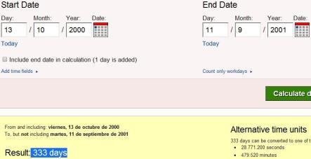 333 díasd esde luna llebna en viernes 13 de octubre 2000 hasta 11 septiembre 2001