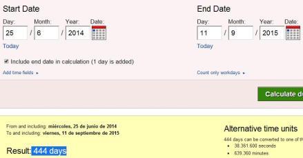 444 días desde 25 junio hasta 11 septriembre 2015