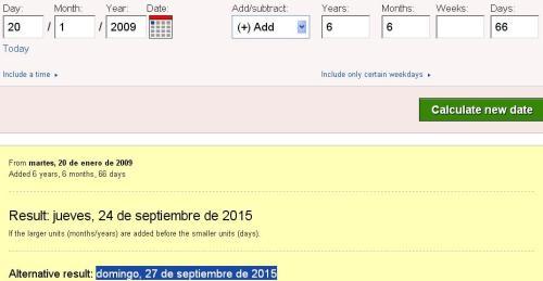 6 años 6 meses y 66 días coronación obama 27 de septiembre del 2015