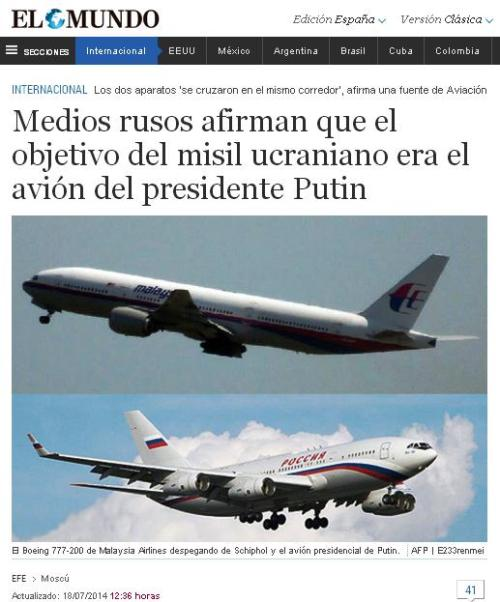 mundo avion presidencial ucrania 777 derribo