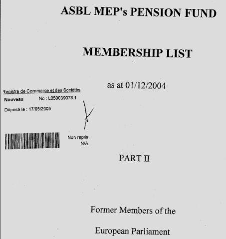 ondo de pensiones suscrito por el Parlamento Europeo (Régimen Voluntario de Pensión Complementaria)