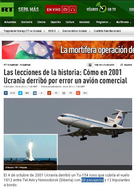 ucrania ya derribo un avion comercial en el 2001