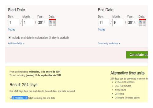 11 septiembre día 254 calendario gregoriano