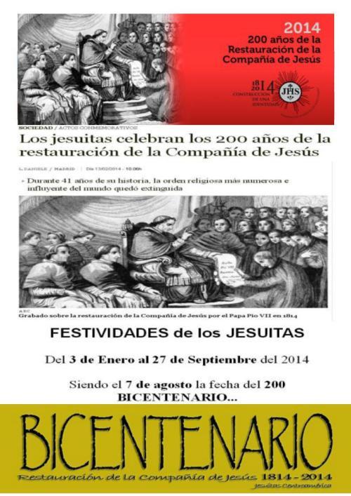 bicentenario restauracion jesuitas 27 septiembre 2014