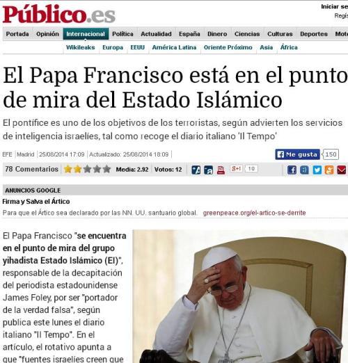 papa francisco punto de mira isis