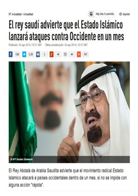 rey saudi amenaza ISIS
