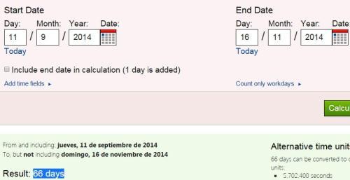 66 días desde 11-09-14 hasta 16-11-14