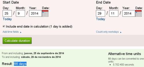 66 días desde inicio año judio 5775 hasta 29-11-14