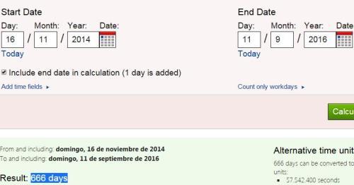 666 días desde 16-11-2014 hasta el 11-09-16