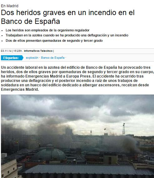 banco españa incendio