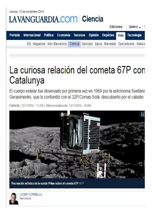cometa 67p y cataluña