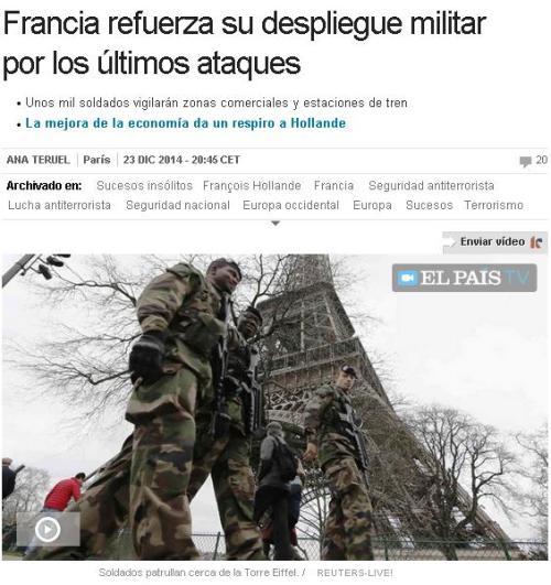 FRANCIA MAS MILITARES POR ATENTADOS FALSABANDERA