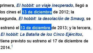 hobbit estrenos 13