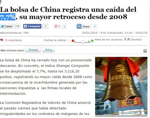 china bolsa mayor caida del 7,7 en 7 años 19-01-15