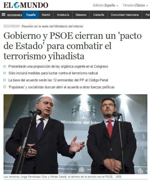 PINZA PPSOE con excusa terrorismo islamico y secesion cataluña