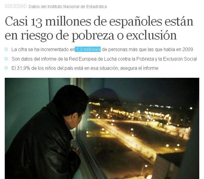 13 millones exclusión pobreza españa