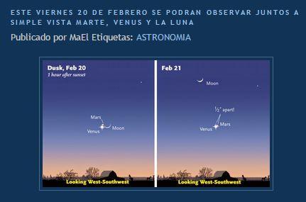 20 febrero venus, luna y marte
