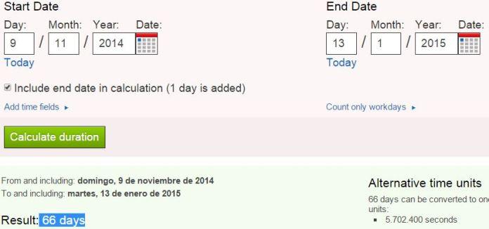 66 dias antes del martes y 13 9n
