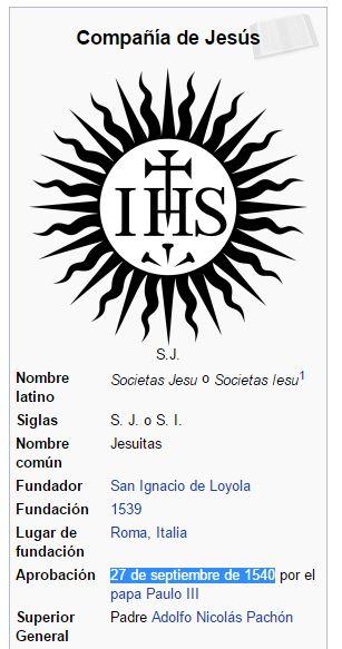 copañia de jesus 27-09-1540 474 años despues firma referendum catalan