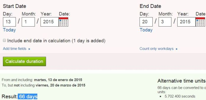 martes y 13 66 dias para 20-03-15