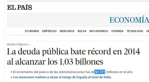 1,03 billones deuda española record. 67777 aapp
