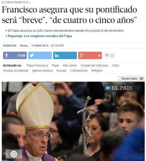 papa pontificado corto 4 cinco años 13-03-15