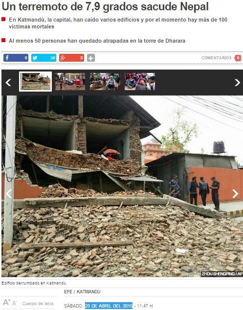 terremoto 7.9 nepal