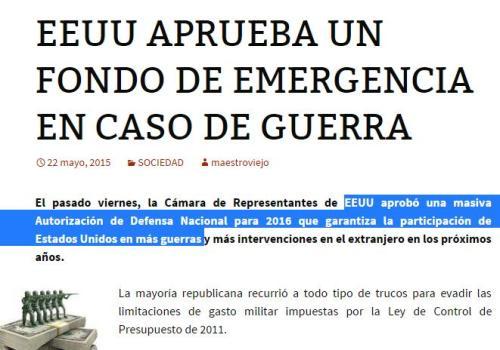 eeuu presupuesto de guerra 2016