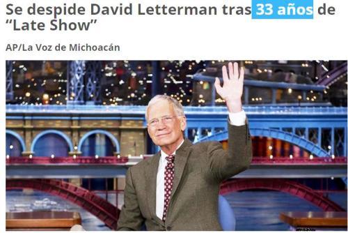 letterman 33 años