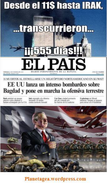 555 dias desde 11$ hasta invasion irak