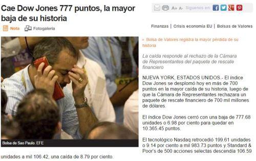 Capturcaida 777 dow jones mayor historia